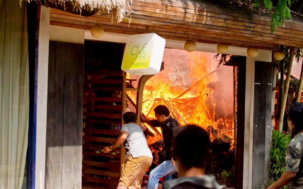 Clear Cafe Ubud Bali burst into flames