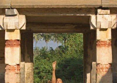 Chakorasana in Indian temple