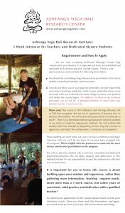 3 Week Ashtanga Yoga Primary Series Teacher Training for Teachers and Dedicated Mysore Practitioners