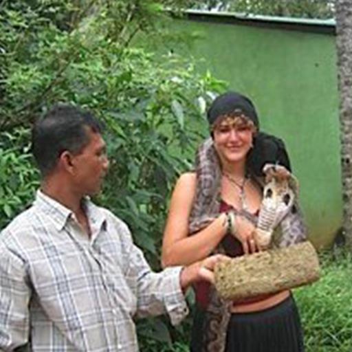 Shanti Carlisi with cobra in SriLanka